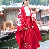 JJAIR Ancient Chinese Coat, Embroidered Hanfu Chinese Costume Hanfu Cloak Photo Shoot Clothing Cosplay,Red,L