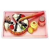Bino world of toys 83413 Bino Schneide-Geburtstagskuchen Kinder ab 3 Jahre (31-Teilig, Maße: 23 x 15 x 7 cm, inkl.: Holz-Messer, Servier-Tablet, Belag, Spielzeug-Marmelade & -Honig), Bunt
