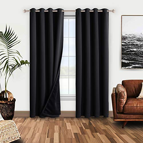 WONTEX 100% Thermal Blackout Curtains for Bedroom – Winter Insulating Window Curtain Panels, Noise Reducing and Sun Blocking Lined Grommet Curtains for Living Room, Black, 52 x 84 inch, Set of 2