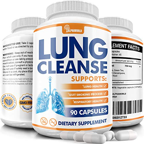 Lung Cleanse - Quit Smoking Supplement - Detox & Lung Support - Supports Respiratory Health - Lung Health Pills for Allergy and Pollution Relief Made in Usa - Vegan - 90 Capsules