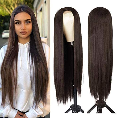 AISI HAIR Dark Brown Natural Long Straight Hair Wig For Women Straight Middle Part Synthetic product image