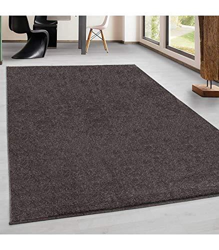 Kurzflor Gabbeh Optik Wohnzimmerteppich Flachflor Teppich Einfarbig 7 Farben, Farbe:Mocca, Grösse:120x170 cm