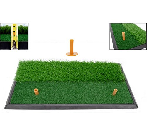 LL-Golf® Golf 2 in 1 Abschlagmatte 60x30 cm mit Rough + Fairway inklusive Gummi Tee/Training Übung Matte