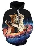 goodstoworld felpe uomo gatto 3d cappuccio donna felpa con stampate 3d hipster divertente unisex pullover hoodie e tasche m