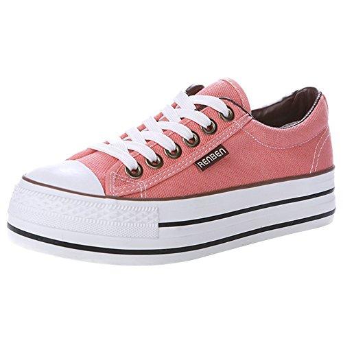 Renben Chicas Mujer Clásico Plataforma Talón de Cuña Baja Lona Zapatillas Moda Cordón Espadrilla Zapatos