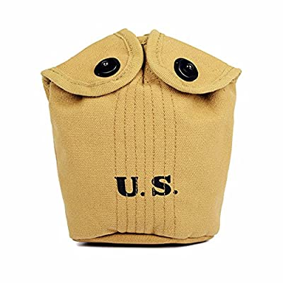 OLEADER WW2 U.S. M1910 Water Bottle Holder USMC Army Equipment Canteen Cover WWII Weebing Gear Canvas/Khaki