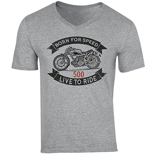 TEESANDENGINES - Camiseta de manga corta para hombre con cuello en V para moto guzzi 500 bicilindrica, color gris Gris gris M