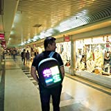 FairOnly Mochila de publicidad de WiFi con LED inteligente, dinámica, inalámbrica, bolsa de hombro con pantalla de publicidad, regalo para niños y niñas, azul