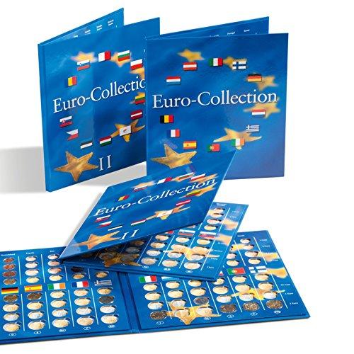 Leuchtturm PRESSO Münzalbum für Euromünzen   Band 1 + 2 im Set   Aufbewahrung für Kursmünzensatz aus Deutschland, Portugal, Spanien & viele andere Euro-Länder