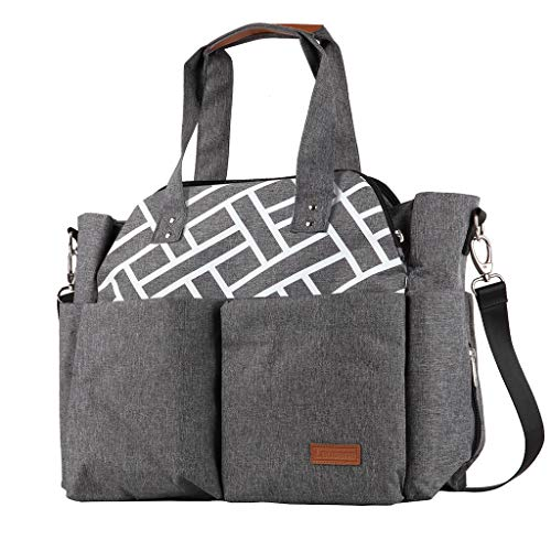Lausana Large Capacity Diaper Bag Tote with Changing Pad for Mom and Dad (Grey)
