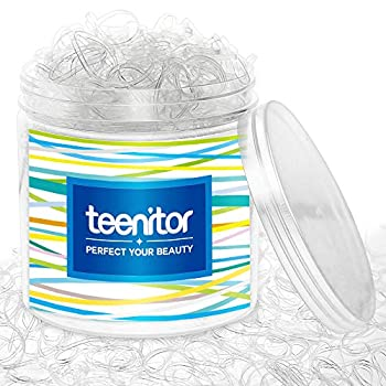 Clear Elastic Hair Bands Teenitor 2000pcs Mini Hair Rubber Bands with a Box Soft Hair Elastics Ties Bands 2mm in Width and 30mm in Length