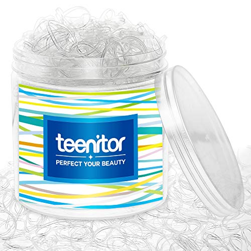 Clear Elastic Hair Bands, Teenitor 2000pcs Mini Hair Rubber Bands with a Box, Soft Hair Elastics Ties Bands 2mm in Width and 30mm in Length