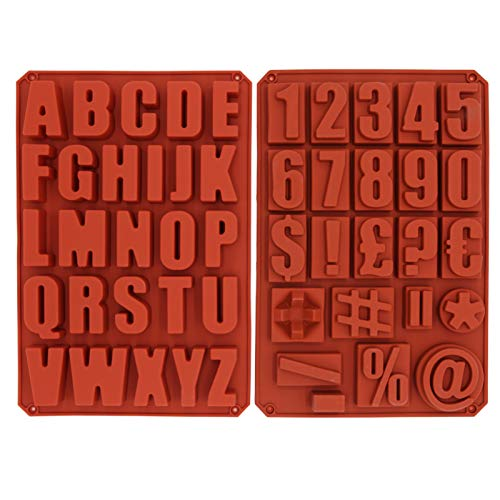 2Pcs Silicone Letter Cake Mold,Numeral&Symbols Cake Molds,BPA Free,Non-Stick Soft and Easy to Release,for Suitable Chocolate Handmade Soap Moulds Biscuit Ice Cube Tray DIY Wedding Birthday Anniversary
