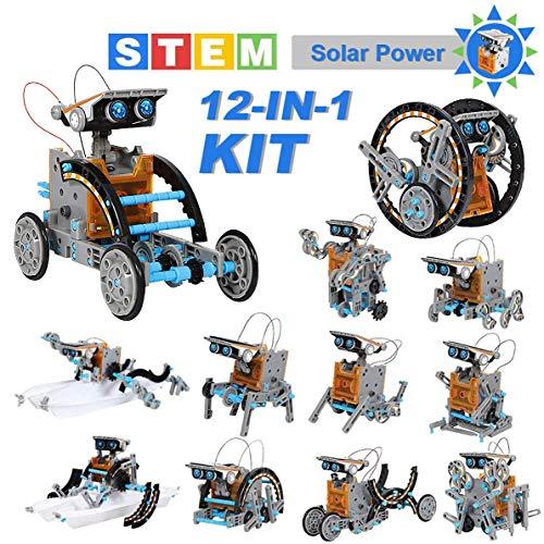 OFUN Roboter solar Kinder Bausatz Lernspielzeug 12 in 1, STEM Spielzeug Konstruktion Bauset mit Solar Wissenschaft Experimentierkasten für Kinder über 8 Jahren (190 Stück), Amphibisch