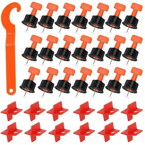 Shanqian - Sistema de Nivelación para azulejos reutilizables, 50 piezas de cruceta, baldosas autoadhesivas de 3 lados y 50 Niveles de baldosas en forma de T con 1 llave especial para suelo y pared.