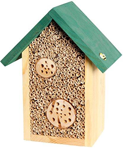 dobar Luxus-Insektenhotels 22622e Bienenhaus Schilfinger mit Schilfrohrhalmen und Aststücken, grünes Dach