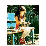 数字油絵 数字キット塗り絵 手塗り DIY絵 デジタル油絵 パークチェアガール 大人 子供と初心者 3ブラシホーム オフィス装飾 40 x 50 cm (フレームレス)