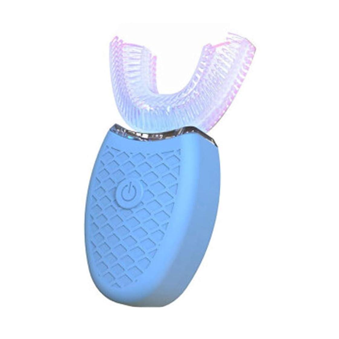 触覚費やす衣服U字型電動歯ブラシ、口腔電動歯ブラシ、U字型電動歯ブラシ交換ヘッド、成人用電動歯ブラシ、電動歯ブラシ-blue