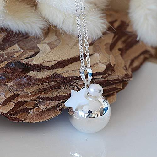 bola de grossesse chaine acier inoxydable cage lisse argent perle d'eau douce étoile