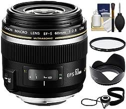 Canon EF-S 60mm f/2.8 Macro USM Lens + UV Filter + Hood + Kit for EOS 7D, 70D, 80D, Rebel T5, T5i, T6, T6i, T6s, SL1 DSLR Cameras