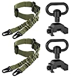 SMALLRT 2 PCS Rifle Sling 2 Point Sling Adjustable with 2 Pack Picatinny QD Sling Mount, Picatinny Rail Mount QD Sling Swivels Mount Quick Release Sling Attachment