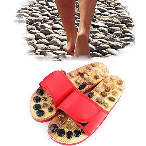 YATT Fußmassagegerät Hausschuhe, entspannende Akupunktur-Massage-Sandalen, Akupressurschuhe aus Holz für Erwachsene und Frauen - Kieselsteine und Achatsteinmaterial,Red,25.5cm
