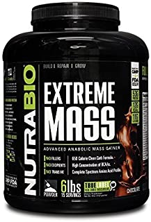NutraBio Extreme Mass Weight Gainer - 6 lbs Chocolate by NutraBio