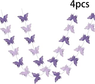 ADLKGG Butterfly Hanging Garland 3D Paper Bunting Banner Party Decorations Wedding Baby Shower Home Decor Purple 4 Pack, 110 inch