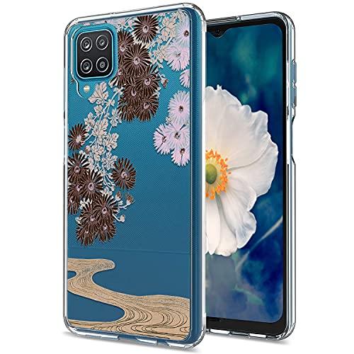 Yeriyerr Funda para Samsung Galaxy A12, ultrafina, transparente, flexible y suave, de silicona TPU, antigolpes, antiarañazos, antigolpes, carcasa trasera [diseño de flores] para Samsung A12 (H)