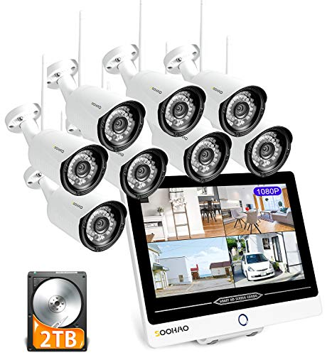 SOOHAO überwachungskamera System WLAN, überwachungskamera mit Monitor 12-Zoll-Monitor NVR 8pcs 1080p überwachungskamera Set kabellos 2 TB Fernüberwachung Nachtsicht, Bewegungserkennung ip66 [Neue]