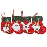 DOITOOL 4 Piezas 3D Calcetín de Navidad DIY Muñeco de Nieve Santa Claus Oso Elk Árbol de Navidad Calcetines Colgantes Chimenea Colgante de Navidad para Casa Tienda Centro Comercial Fiesta