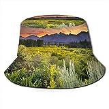 NA Chapeau de soleil unisexe avec bord large et protection solaire pour la marche de pêcheur, bâtiments architecturaux Canal, ville, lac Taille unique One7