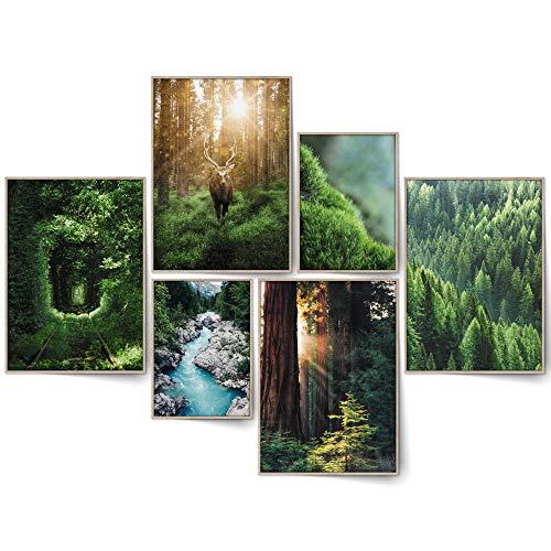 BLCKART Infinity Dreamy Forest Bilder Set Stilvolle Beidseitige Wald Poster Wohnzimmer Deko Wälder (L   4x A3   2x A4   ohne Rahmen, DREAMY FOREST)
