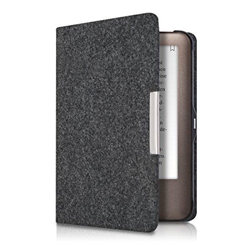 kwmobile Hülle kompatibel mit Tolino Shine - Filz Stoff eReader Schutzhülle Cover Case - Dunkelgrau