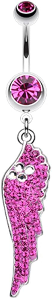 Covet Jewelry Jeweled Angel Wing Sparkle Belly Button Ring