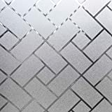 Coavas Window Film Privacy Static Clings Herringbone Compare to One Way Window Film Sun Blocking/Heat Control/Privacy/Decorative for Working from Home Office Hospital RV (29-inch by 78.7-inch)