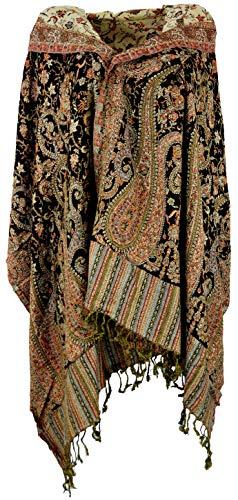 Guru-Shop Guru-Shop Indischer Pashmina Schal, Schultertuch, Stola mit Paisley Muster, Herren/Damen, Dunkelbraun, Synthetisch, Size:One Size, 200x70 cm, Schals Alternative Bekleidung