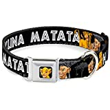 Buckle-Down Dog Collar Seatbelt Buckle Lion King Simba Nala Hakuna Matata 11 to 17 Inches 1.0 Inch Wide, Multi Color (DC-WDY046-M)