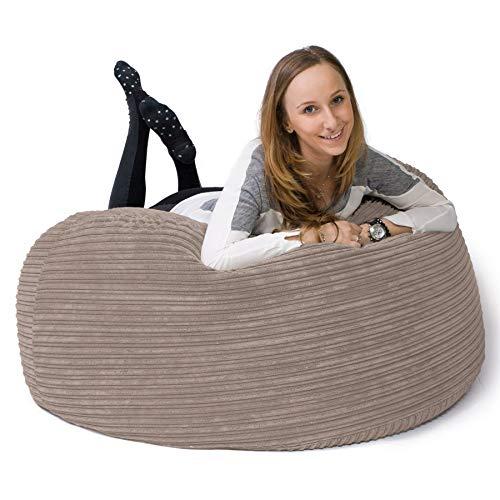 Lounge Pug®,'Mammoth' Sofa Sitzsack XXL, Riesen Sessle, Cord Nerzfarben