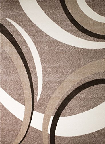 Rio Summit 302 Taupe White Area Rug Modern Abstract Many Sizes Available , DOOR MAT 22 inch x 35 inch