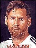 サッカースポーツスターレオメッシポスタープリントポスタースポーツアートバナーサッカーファンキッズウォールアートルームの装飾50x70cmフレームなし