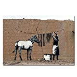 Box Prints Banksy Zebra waschen Streifen Poster Kunst Bild