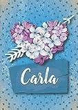 Carla: Cuaderno de notas A5   Nombre personalizado Carla   Regalo de cumpleaños para la esposa, mamá, hermana, hija ..   Diseño: Lilas corazon   120 páginas rayadas, formato A5 (14.8 x 21 cm)