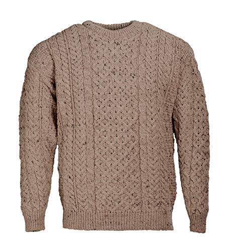 Traditional Wool Crew Neck Aran Sweater (Small, Oatmeal)