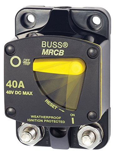 AM Solar Blue Sea Systems Bussman Series 187 Marine Rated Circuit Breaker (MRCB), 40 Amps - Surface Mount