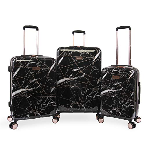 Juicy Couture Women's Vivian 3 Piece Hardside Spinner Luggage Set, Black Marble Web, One Size