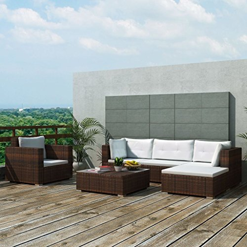 SENLUOWX Ensemble de meubles de jardin 17 pièces poli rotin marron