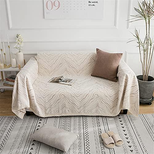 mantas para sofa,Toalla de sofá de cubierta completa engrosada, cubierta de sofá universal de cuatro estaciones elástica antideslizante toalla-beige (180 * 280 cm)