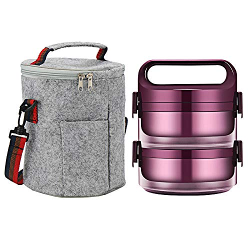 QULONG Lunch Box,2-3 Layer Leak-Proof Student School Japanese Style Bento Box Set Portable Travel Thermal Stainless Steel Lunch Box Container with Insulated Bag,Purple,1.35L