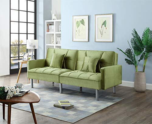 Legend Furniture Velvet Sofa Bed Sleeper with Pillow Sofabed, Green